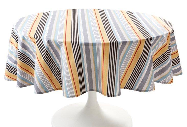 "70"" Round Stripe Tablecloth, Licorice"