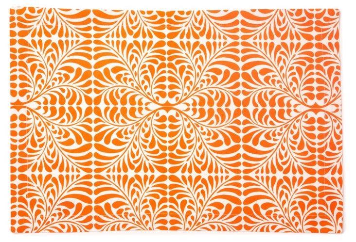 S/4 Place Mats, Fern Orange