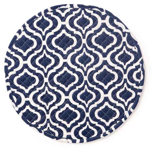 S/4 Bargello Quilted Place Mats, Navy