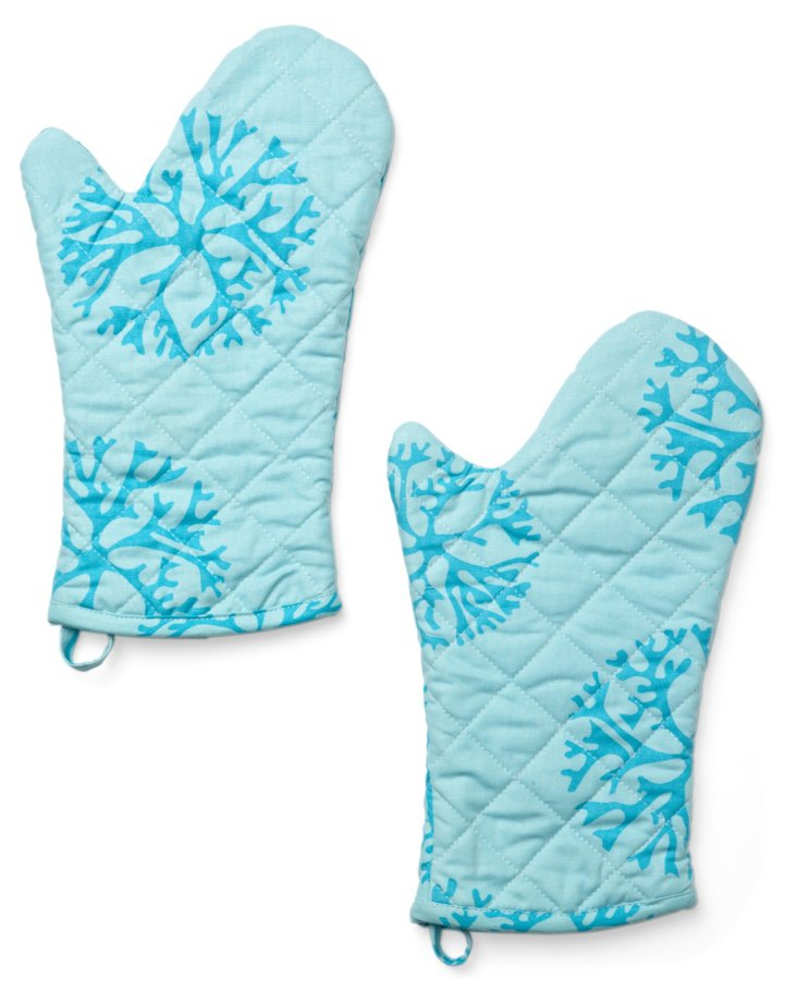S/2 Coral Oven Mitts, Turquoise