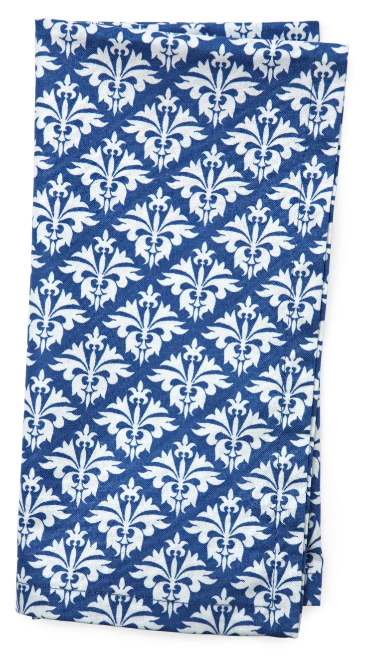 S/4 Fleur-de-Lis Dinner Napkins, Blue