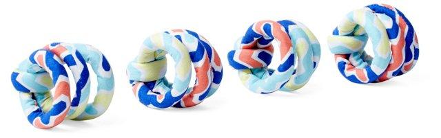 S/4 Napkin Rings, Arabesque Aqua
