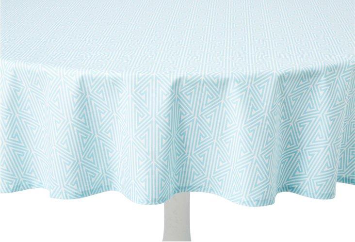 Tablecloth, Greek Key Aqua