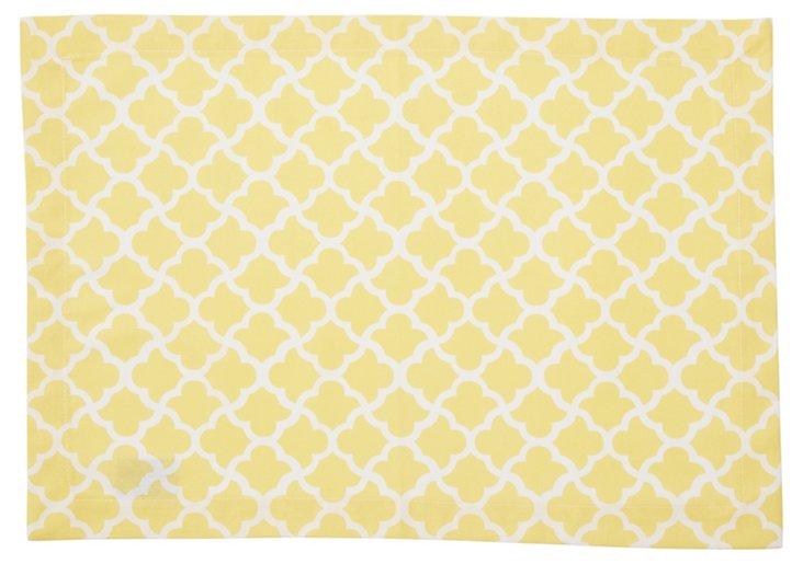 S/4 Latticework Place Mats, Yellow