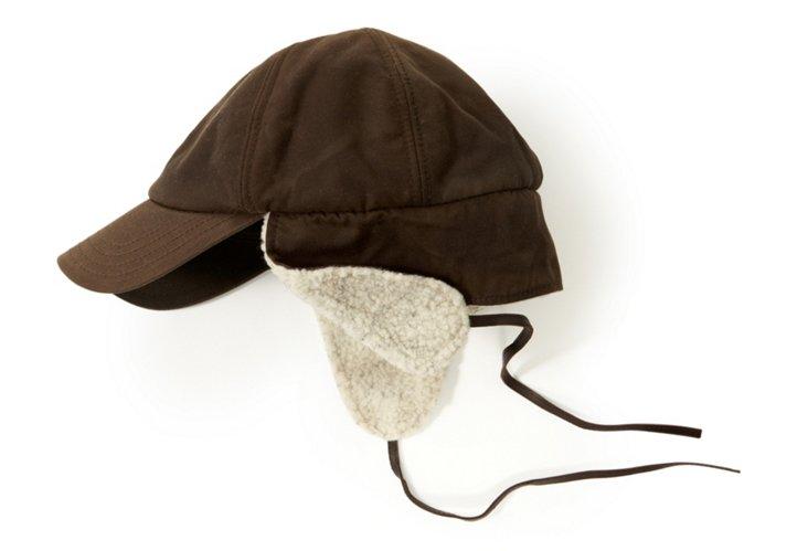 Men's Brown Oil Cloth Earflap Cap, L