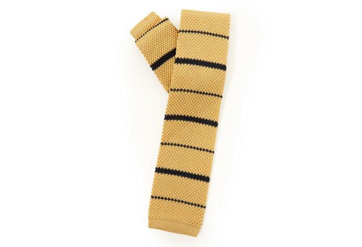 Men's Stripe Knit Tie, Yellow/Navy