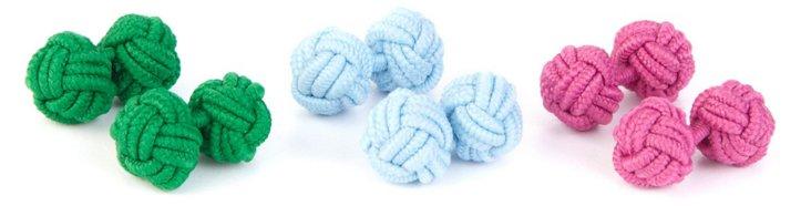 S/3 Silk Knot Cufflinks, Pink/Blue/Green