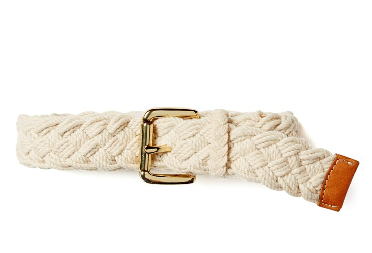 Woven Cotton Rope Belt, White