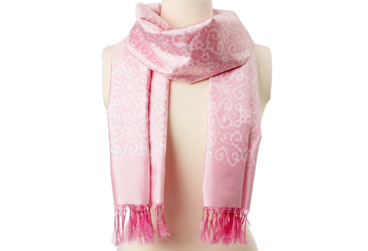 Heart Square Ikat Silk Scarf, Pink/White