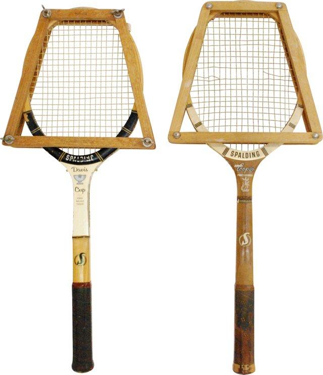 Spalding Rackets w/ Wood Presses, Pair