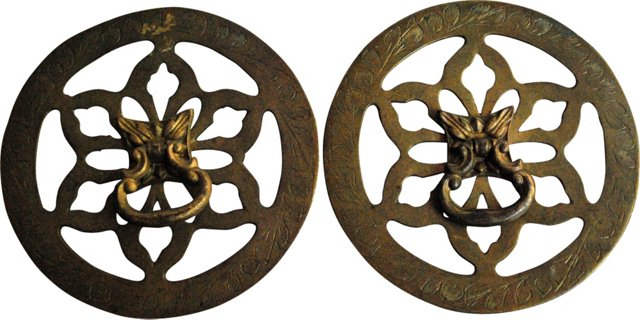 Brass Drawer Pulls, Pair