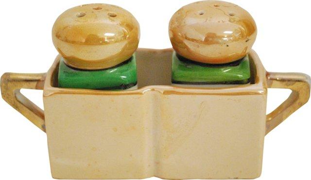 Lusterware Salt & Pepper Set w/ Caddy, 3 Pcs