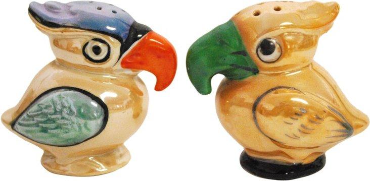 Lusterware Parrot Salt & Pepper Set