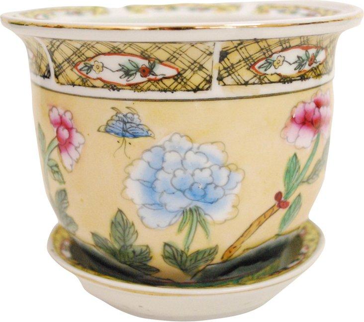 Small Yellow Flower Pot w/ Dish