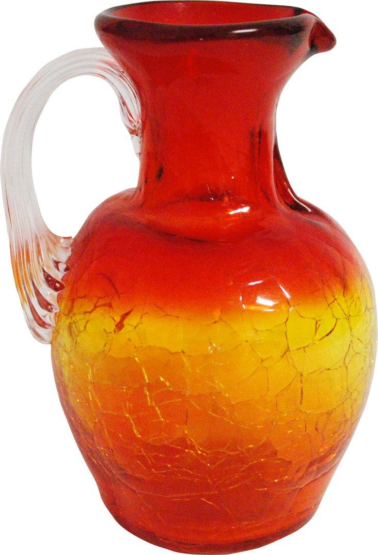 Orange & Red Crackle-Glass Vase