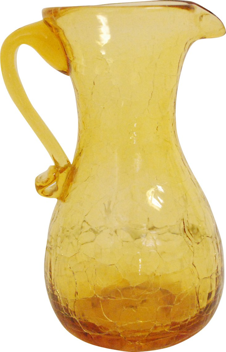 Yellow Crackle-Glass Vase