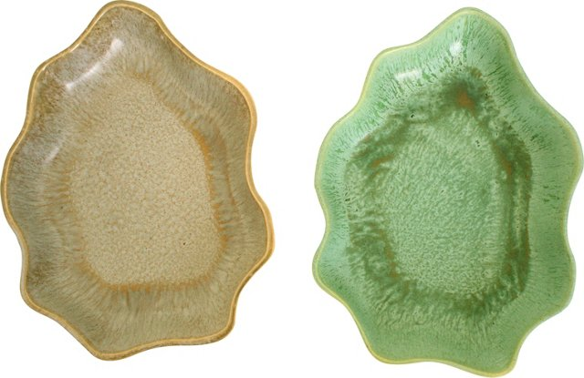 Midcentury Pottery Dishes, Pair