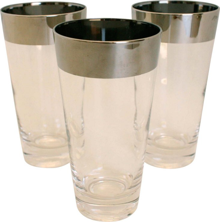 Silver-Banded Highballs, Set of 3