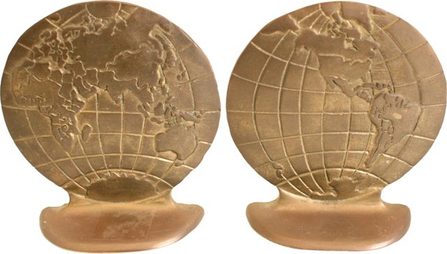 Brass Globe Bookends
