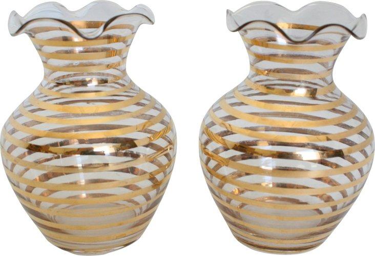 Gold-Striped Bud Vases, Pair