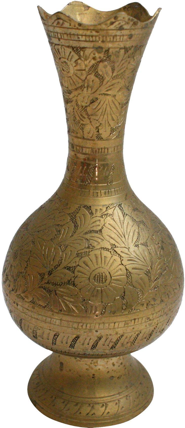 Large Engraved Brass Vase