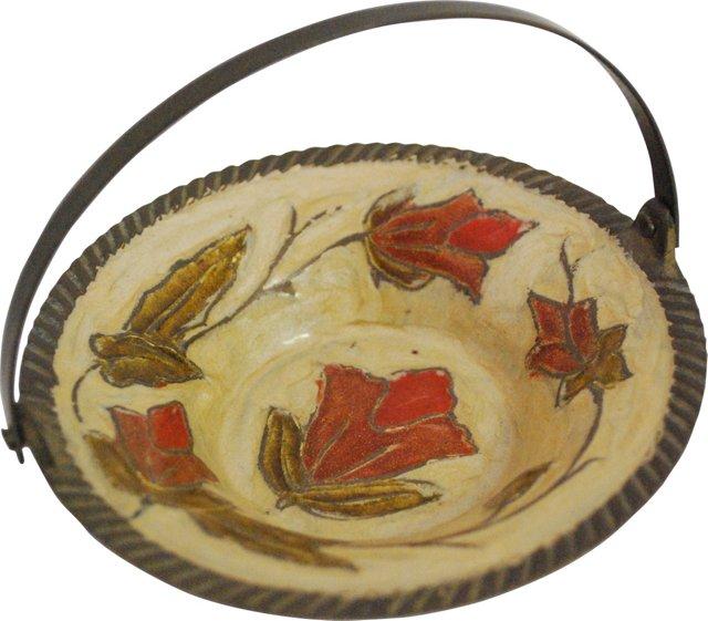 Petite Brass and Enamel Basket