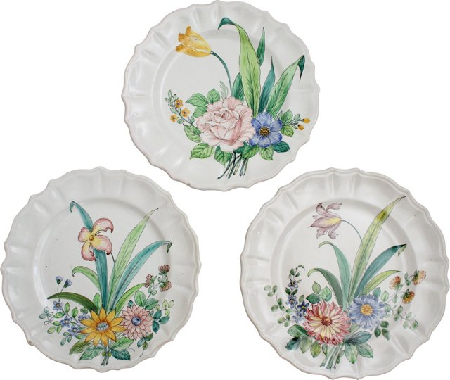 Hand-Painted Dinner Plates, Set of 3