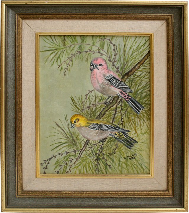 Parakeet Oil Painting