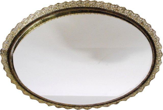 Gold Filigree Mirrored Vanity Tray