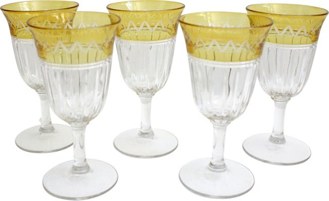 Yellow Etched Wine Goblets, Set of 5