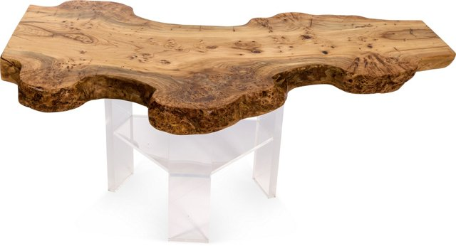 Live Wood Coffee Table w/ Lucite