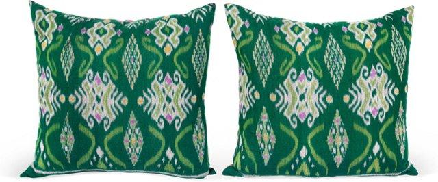 Green Ikat Pillows, Pair