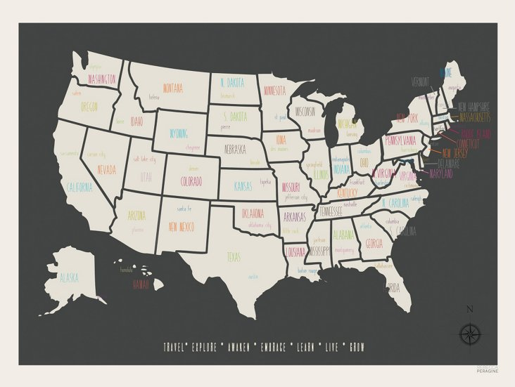 Personalized USA Travel Map