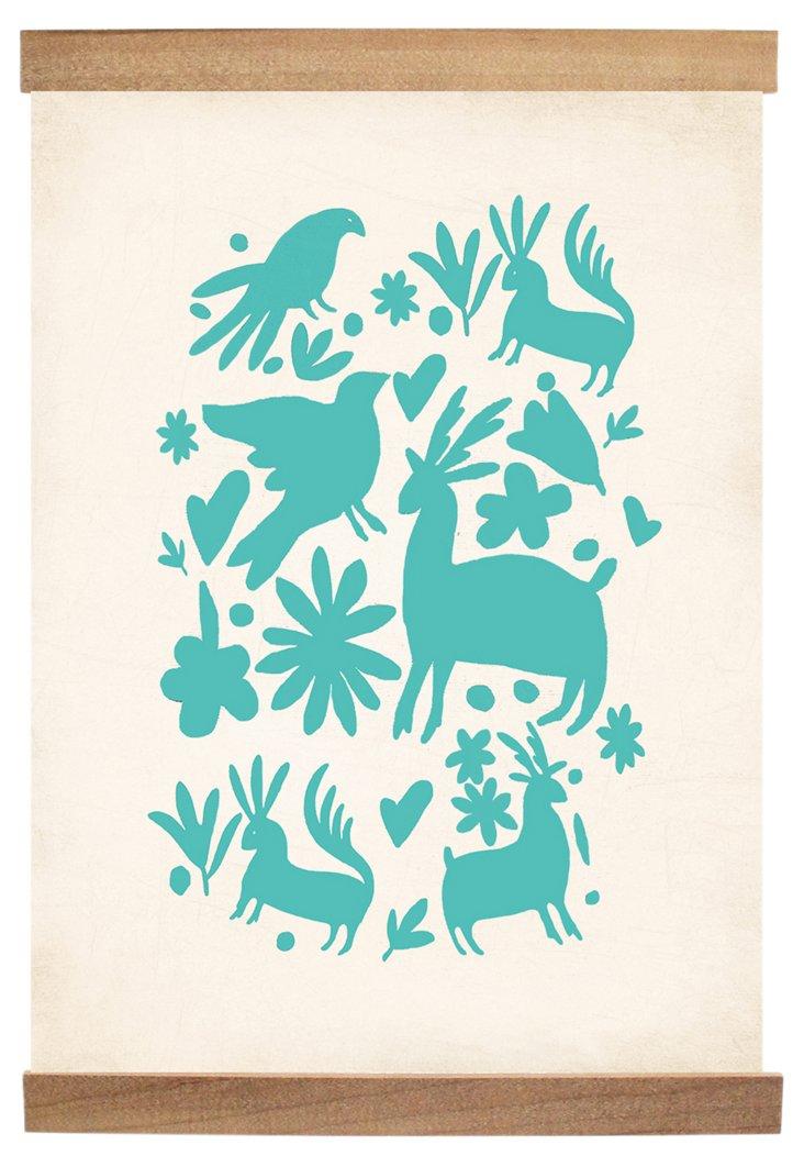 Otomi Block Print in Turquoise