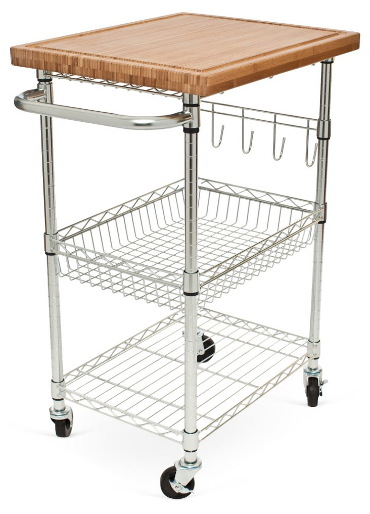 Bamboo Storage Cart w/ Wheels