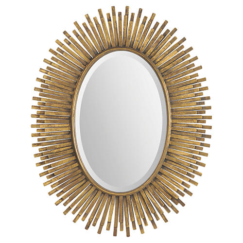 "Zanna 31""x39"" Wall Mirror, Antique Gold Leaf"