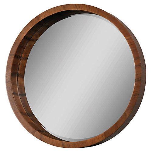 "Marsha 33"" Wall Mirror, Walnut Veneer"