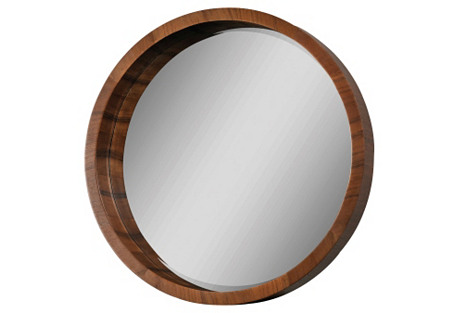 Marsha Round Mirror, Walnut Veneer
