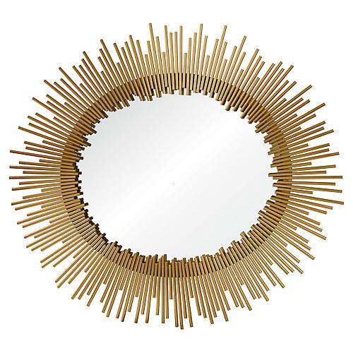 """Orwell 32""""x35"""" Wall Mirror, Gold"""