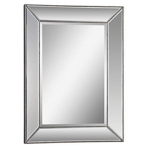 """Whitney 34""""x46"""" Wall Mirror, Silver Leaf"""