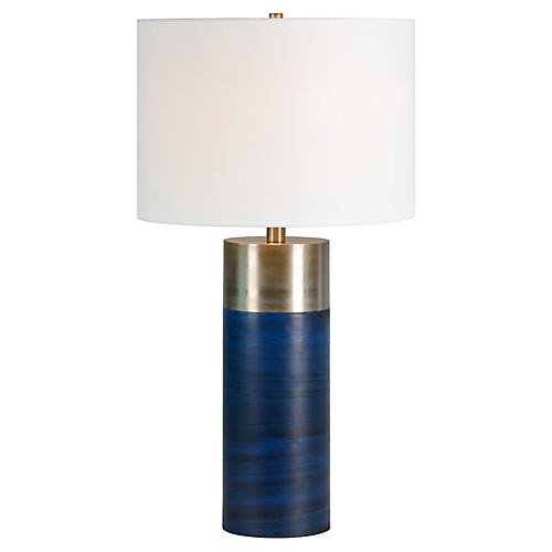 Glint Table Lamp, Deep Blue/Satin Nickel