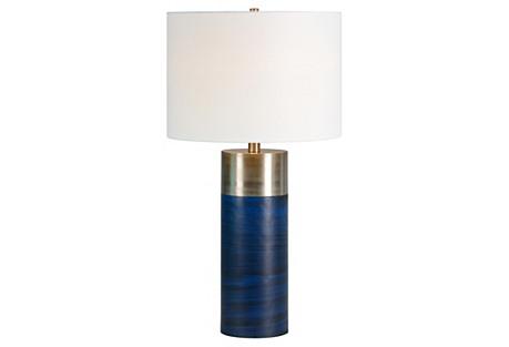 Glint Table Lamp, Deep Blue/Satin Nickel