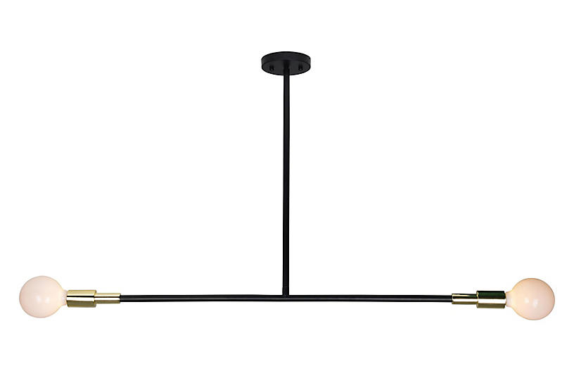 Pairs Chandelier, Matte Black/Gold