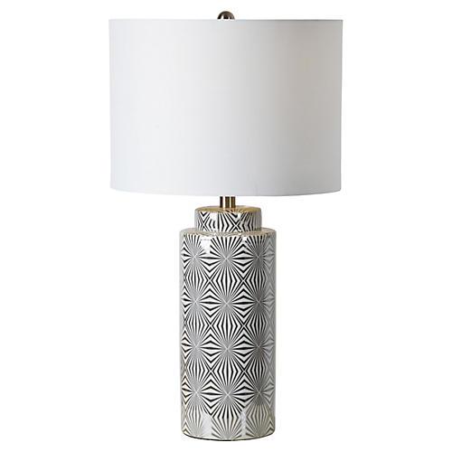 Camden Table Lamp, Glazed White/Silver