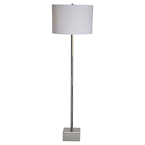 Brevera Floor Lamp, Chrome/Off-White