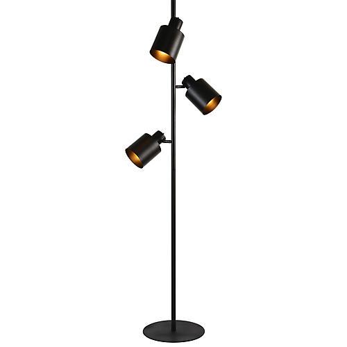 Ismay 3-Light Floor Lamp, Matte Black