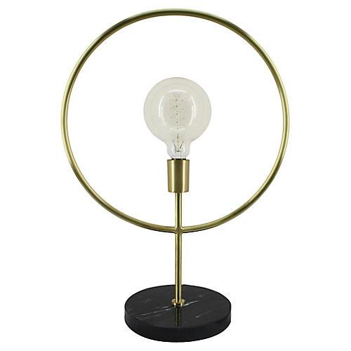 Parasha Marble Table Lamp, Black/Matte Brass