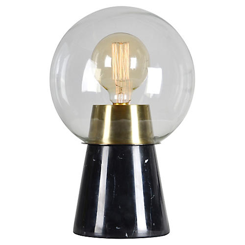 Zuri Marble Table Lamp, Antiqued Brass/Black