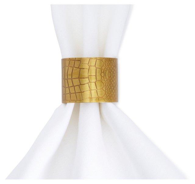 S/4 Croc Print Napkin Rings, Brass