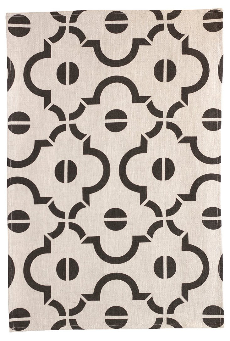 Arabesque Tea Towel, Black
